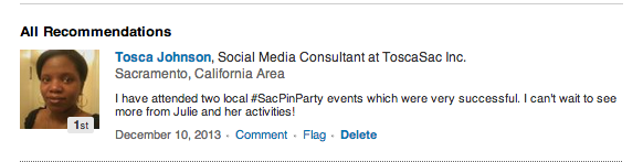 Tosca Johnson, Social Media Consultant at ToscaSac Inc. Sacramento, California Area. I have attended two local #SacPinParty events which were very successful. I can't wait to see more from Julie and her activities!  via LinkedIn