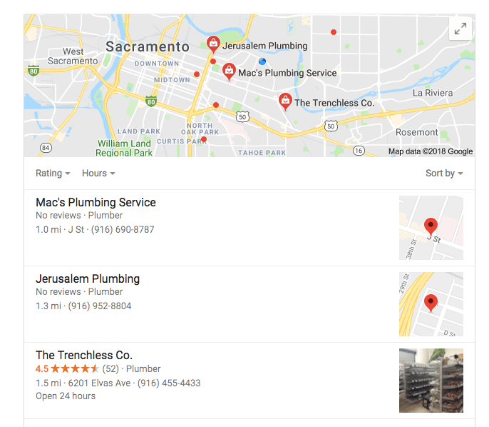 Google rank Sacramento plumbers local seo