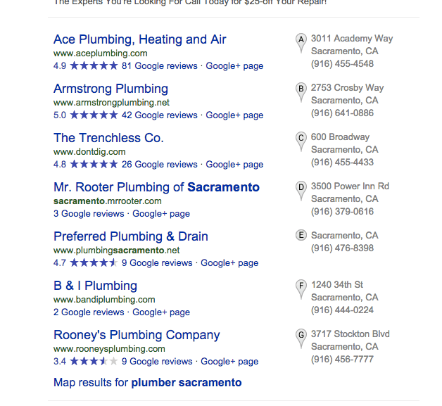 Sacramento Plumber SEO - Get on the Map can help you get listed on page one of Google