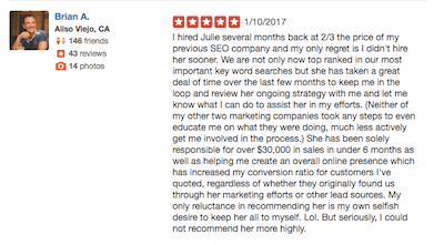 get on the map yelp testimonial brian a
